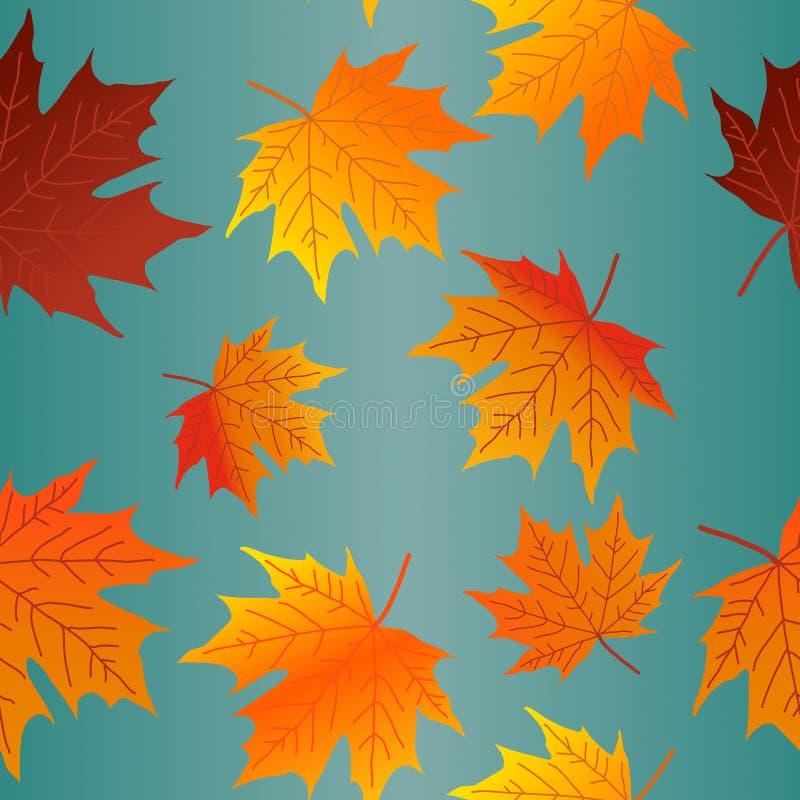 As folhas de bordo coloridas de Autumn Leaves Seamless Pattern Fall repetem o teste padrão para o projeto de matéria têxtil, impr ilustração stock