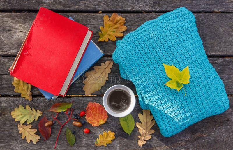 As folhas de outono caídas no fundo de madeira velho, na xícara de café quente, livro e aquecem a camiseta feita malha Tempo boni imagens de stock