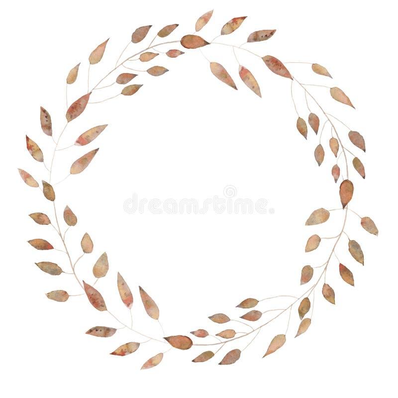 As folhas de outono da aquarela envolvem a planta branca pintado à mão da colheita do fundo ilustração do vetor