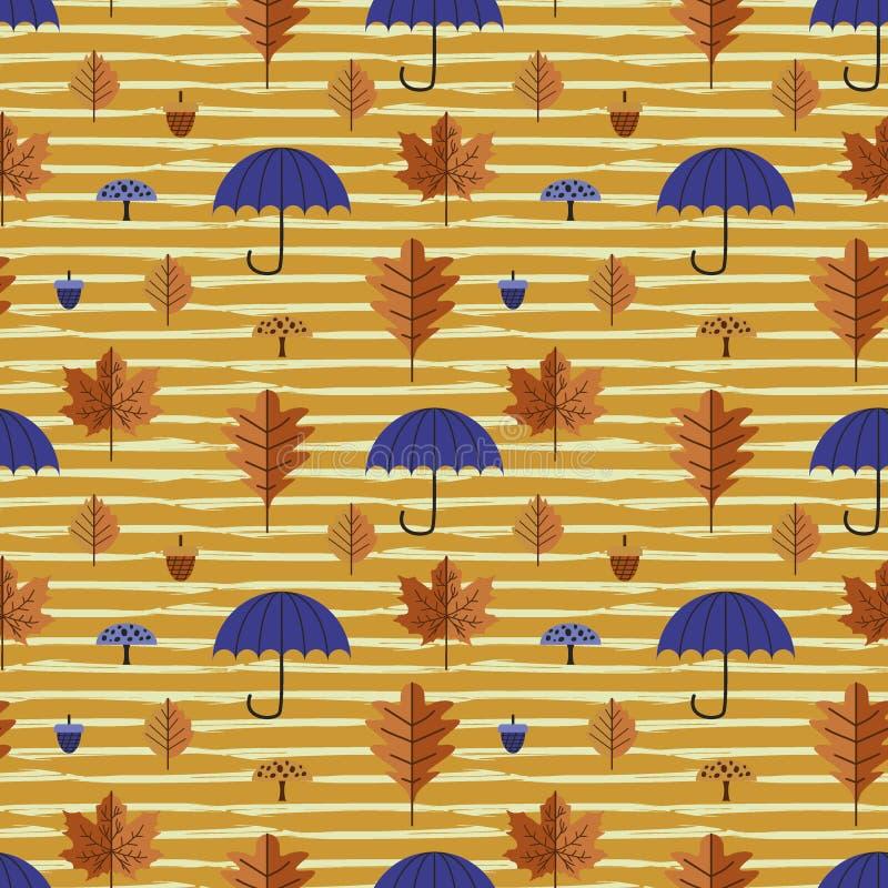 As folhas de outono e o teste padrão sem emenda da folha com guarda-chuva e bordo multicolorido e carvalho entregam a ilustração  ilustração stock