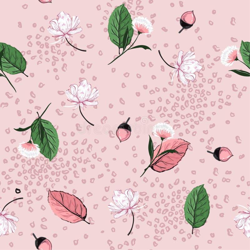 As folhas de outono, os pinhões e os elementos doces da flor misturam com o anima ilustração stock