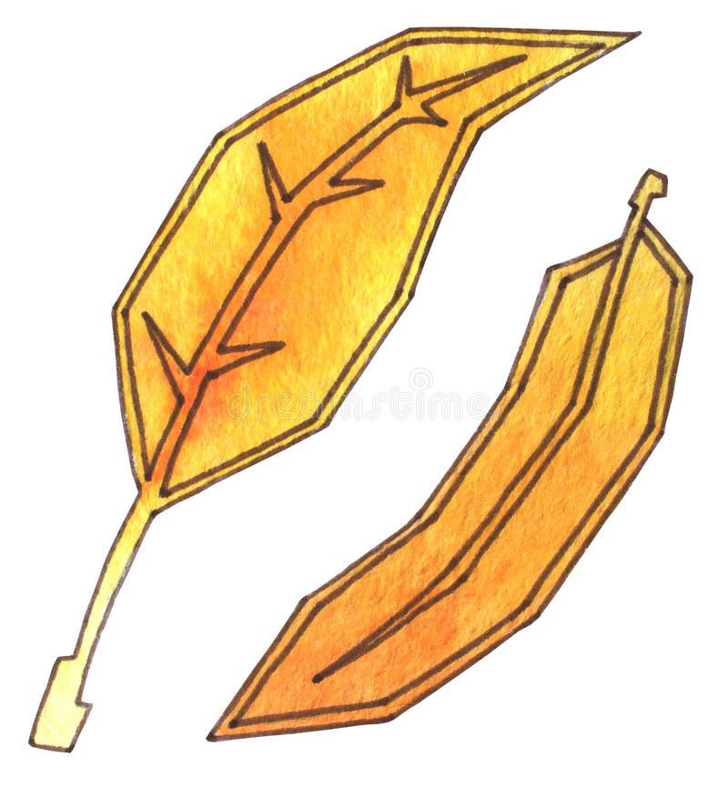 As folhas de outono são amarelas e alaranjadas Aquarela do desenho da mão com esboço Tempo de colheita Queda da folha do outono ilustração royalty free