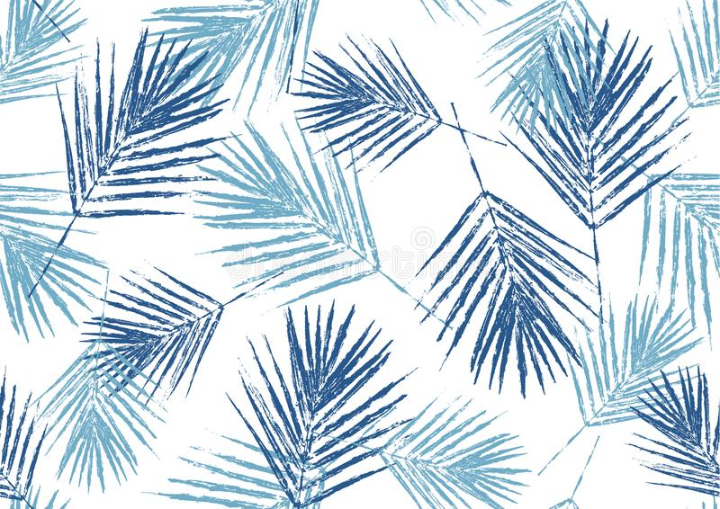 As folhas de palmeira azuis naturais do teste padrão sem emenda carimbam no fundo branco, vetor da folha, ilustração ilustração do vetor