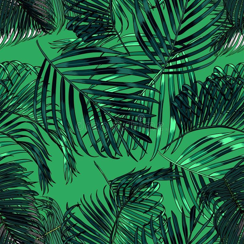 As folhas de palmeira mostram em silhueta no fundo verde Teste padrão sem emenda do vetor com plantas tropicais ilustração royalty free