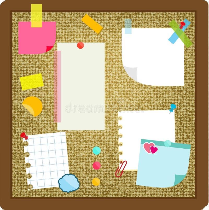 As folhas de papel, notas pegajosas, etiquetas que penduram na cortiça embarcam Ilustração do vetor ilustração do vetor