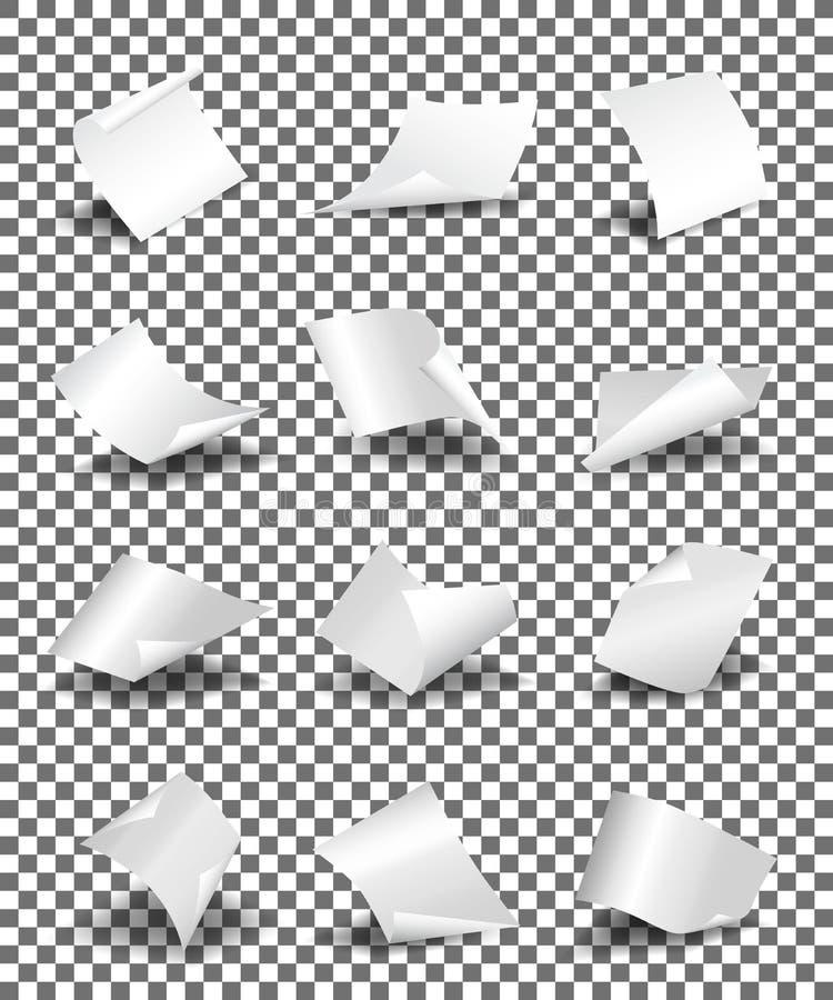 As folhas de papel vazias no fundo transparente vector a ilustração ilustração do vetor