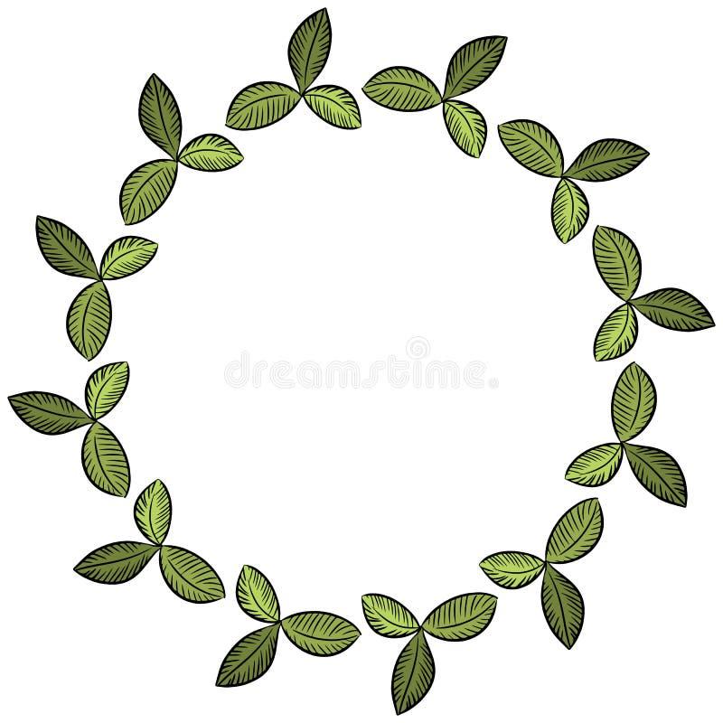 As folhas do trevo envolvem o ornamento floral Ilustra??o do vetor ilustração do vetor