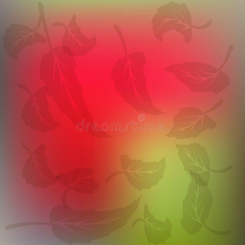 As folhas em um fundo vermelho e verde fotografia de stock