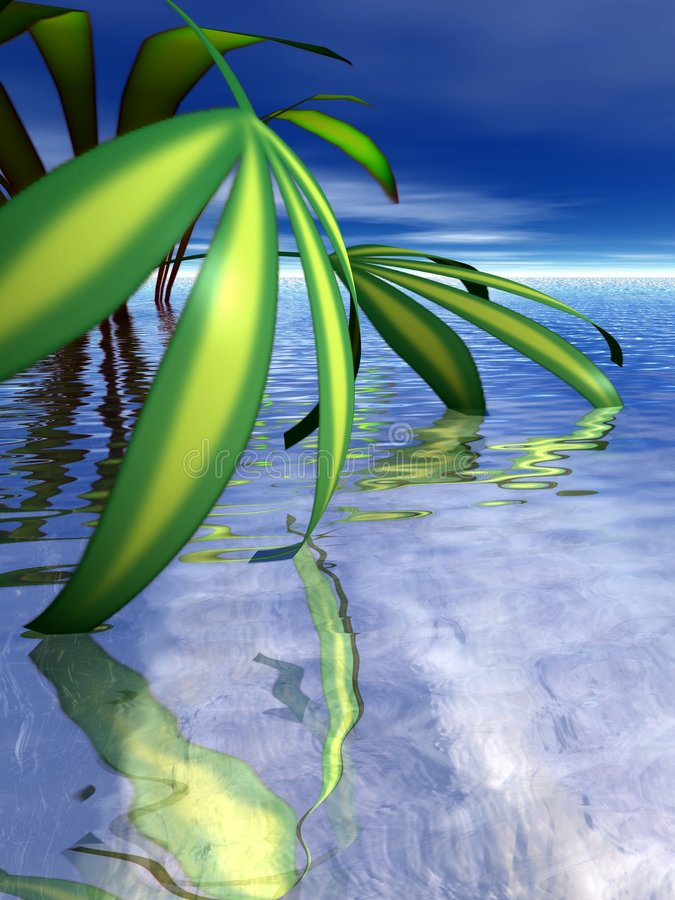 As folhas mergulham na água ilustração stock