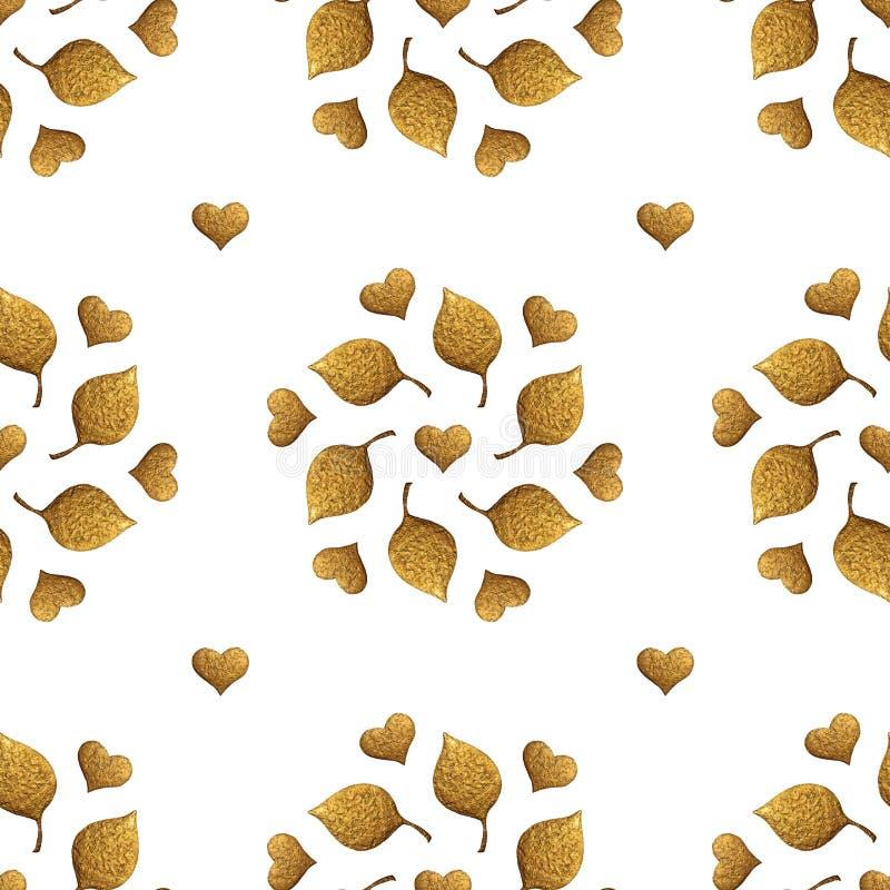 As folhas modelam e o ornamento dos corações Fundo sem emenda pintado à mão do ouro Ilustração dourada da folha abstrata fotos de stock royalty free