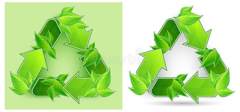As folhas recicl o símbolo ilustração stock