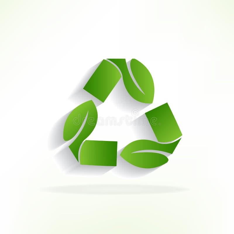 As folhas verdes do logotipo reciclam o projeto do vetor do ícone do símbolo ilustração royalty free