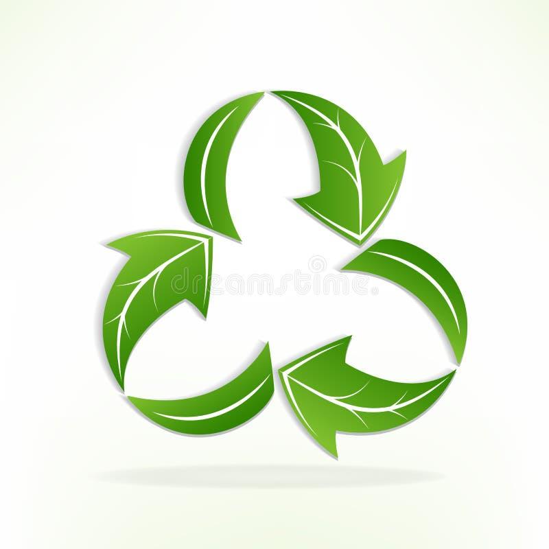 As folhas verdes do logotipo reciclam o vetor do símbolo ilustração do vetor