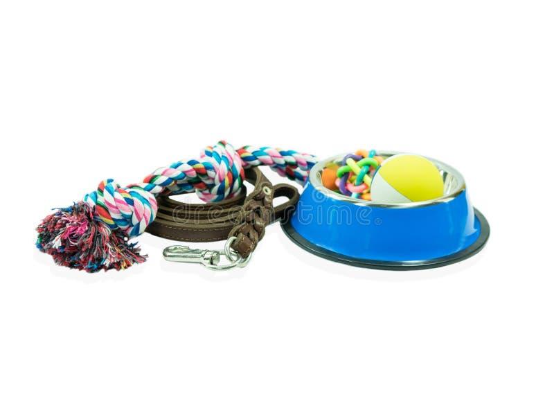 As fontes do animal de estimação ajustaram-se sobre a bacia inoxidável, corda, brinquedos de borracha foto de stock royalty free
