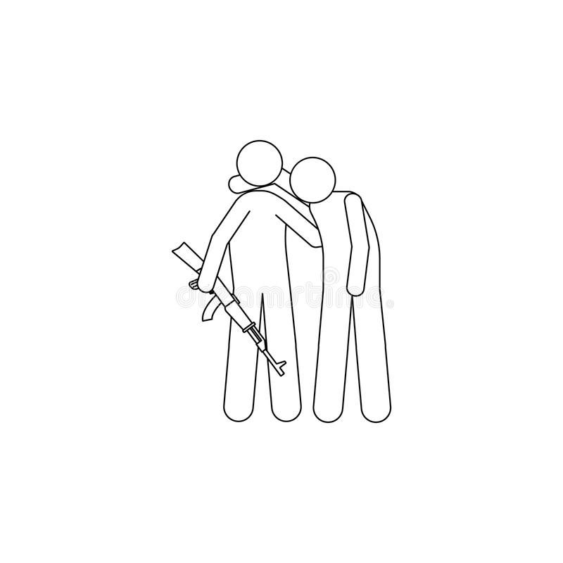 as forças armadas ajudam um ícone ferido do homem Elemento do ícone militar para apps móveis do conceito e da Web Linha fina ícon ilustração do vetor