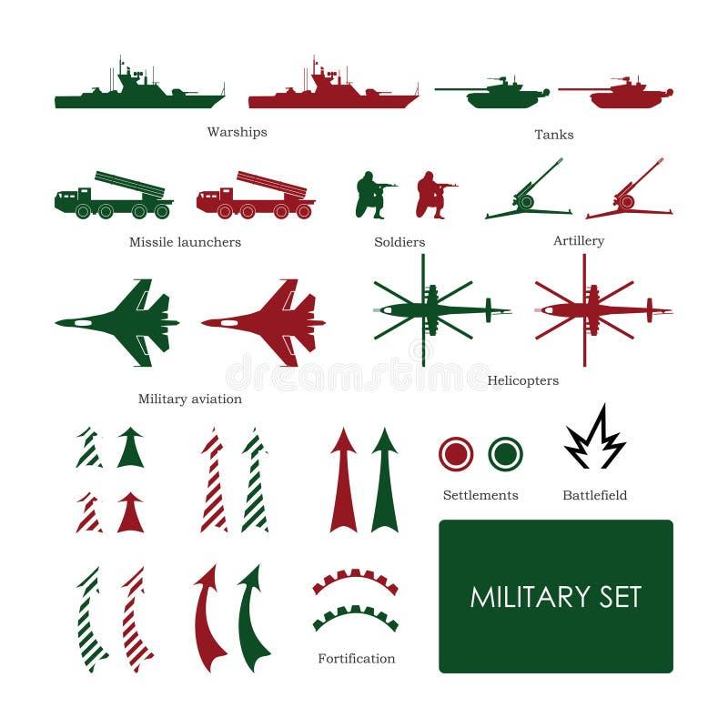 As forças armadas ajustaram-se para o mapa tático com ícones detalhados ilustração royalty free