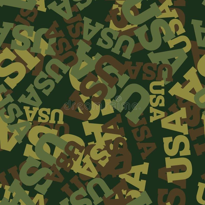 As forças armadas camuflam EUA Teste padrão sem emenda protetor americano A ilustração royalty free