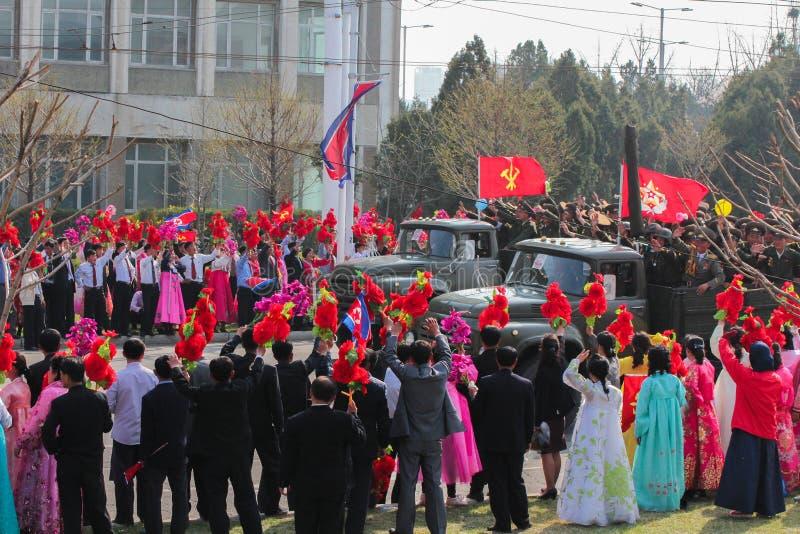 As forças armadas da Coreia do Norte desfilam imagem de stock royalty free