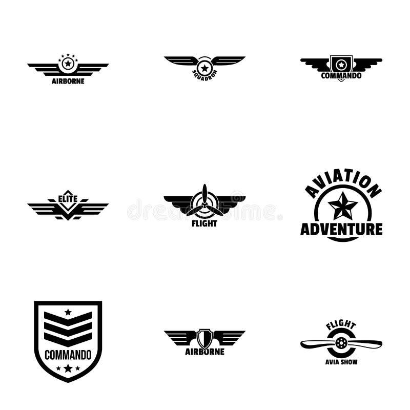As forças armadas etiquetam ícones estilo ajustado, simples ilustração stock