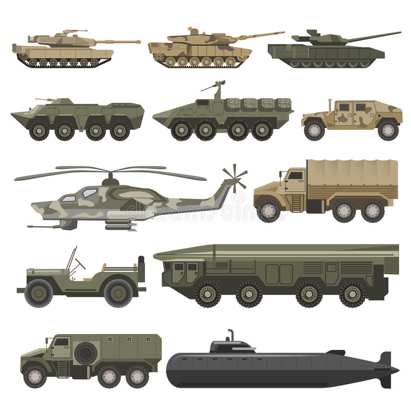 As forças armadas transportam e os ícones isolados vetor das máquinas do tempo de guerra do exército ajustados ilustração stock