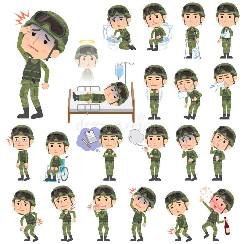 As forças armadas vestem a doença do homem ilustração do vetor