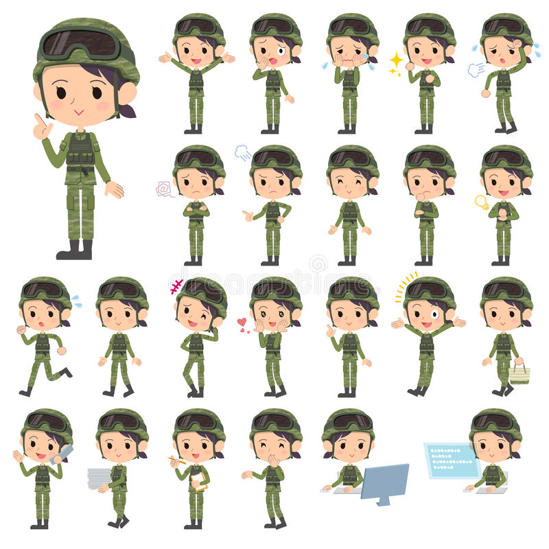 As forças armadas vestem a mulher ilustração stock