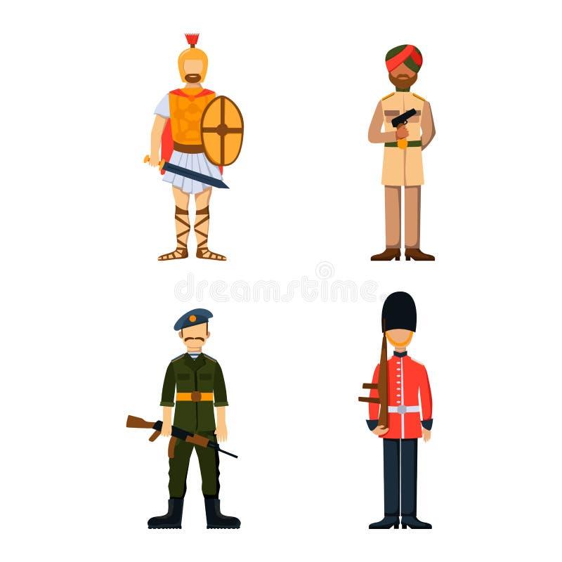 As forças militares da silhueta do homem da armadura dos símbolos da arma do caráter do soldado projetam e marinha americana da m ilustração do vetor
