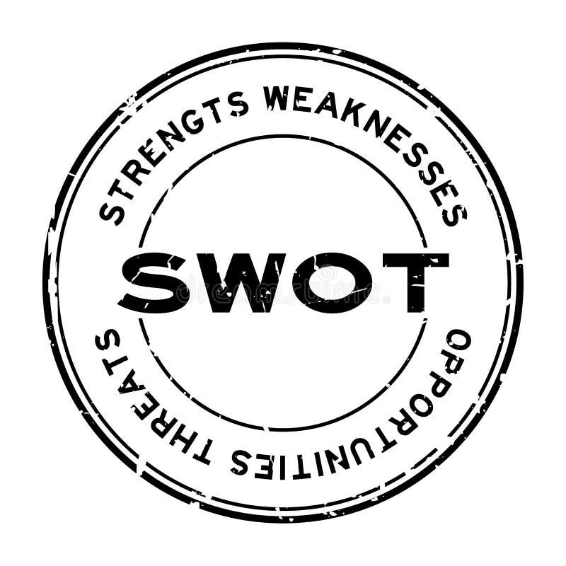 As forças pretas do SWOT do Grunge, fraquezas, oportunidades, ameaças exprimem o carimbo de borracha redondo no fundo branco ilustração stock