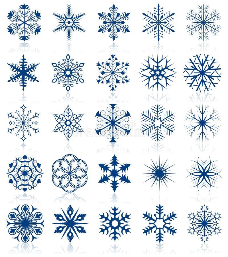 As formas do floco de neve ajustaram 2 ilustração stock