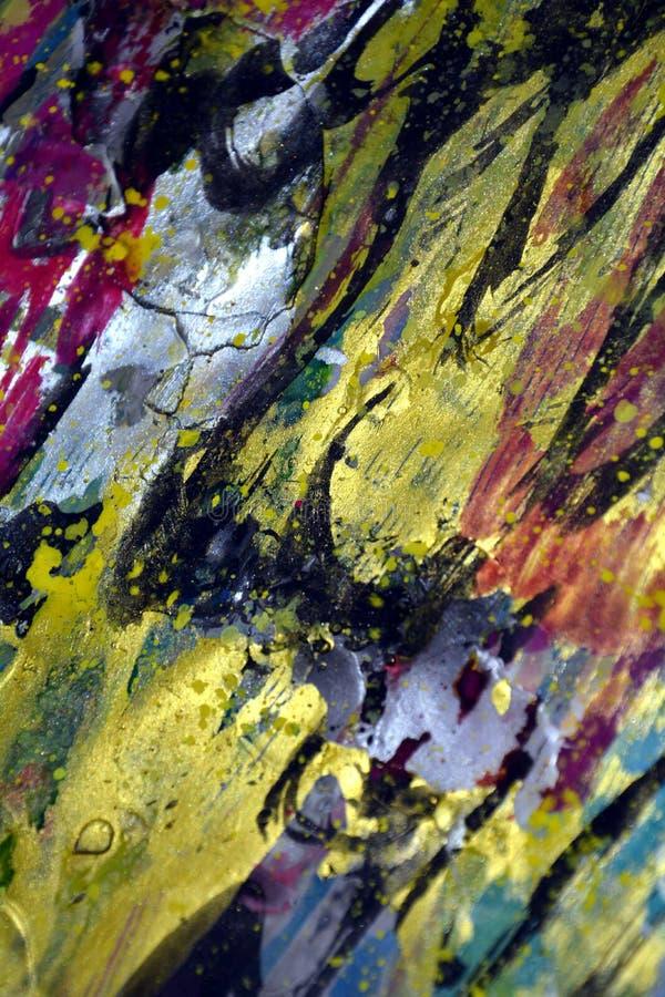 As formas do ouro como ondas espirram, cores cerosos vívidas coloridas, fundo criativo dos contrastes foto de stock