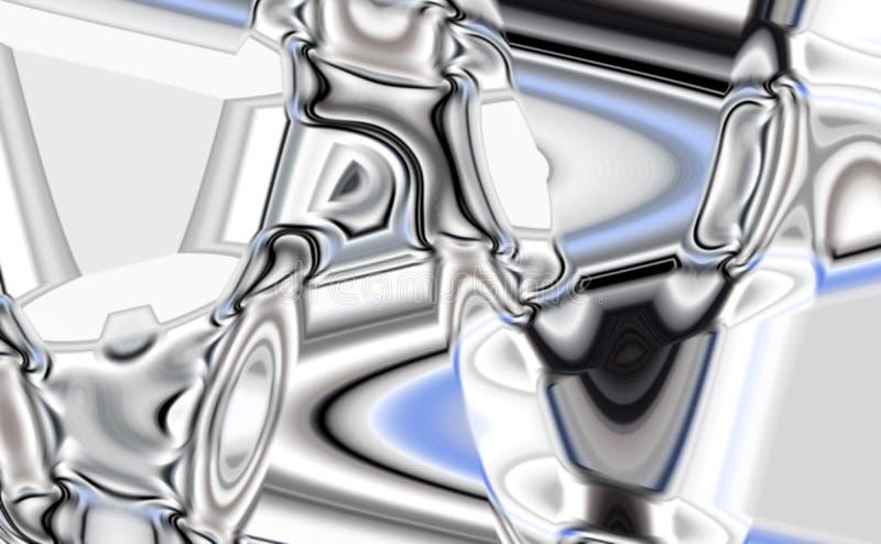 As formas macias do ferro prateado liso, contrastam o fundo abstrato ilustração royalty free