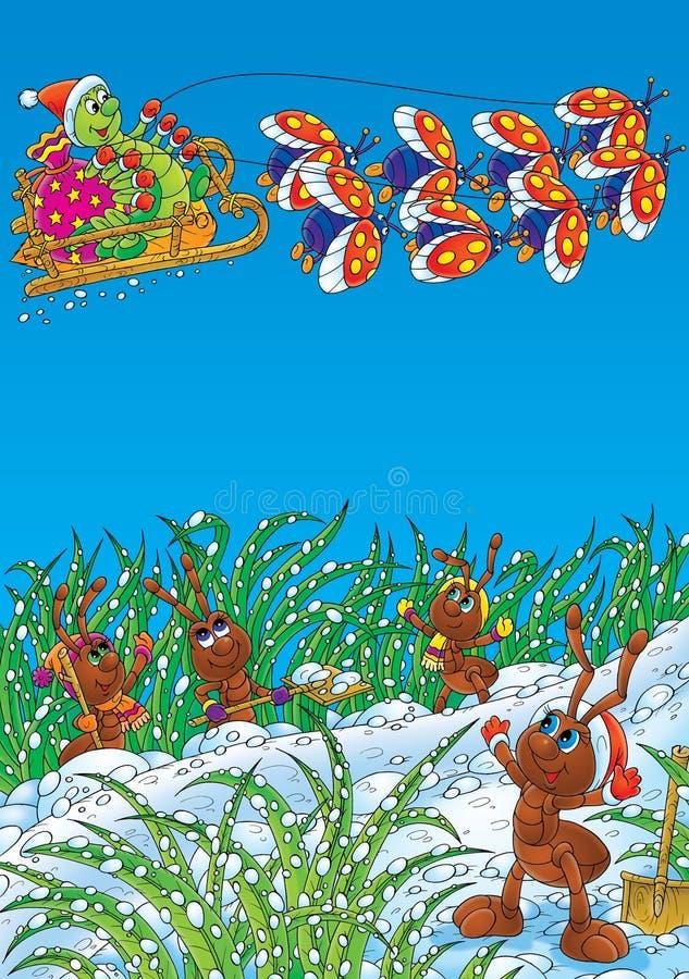 As formigas e a lagarta comemoram o Natal ilustração royalty free