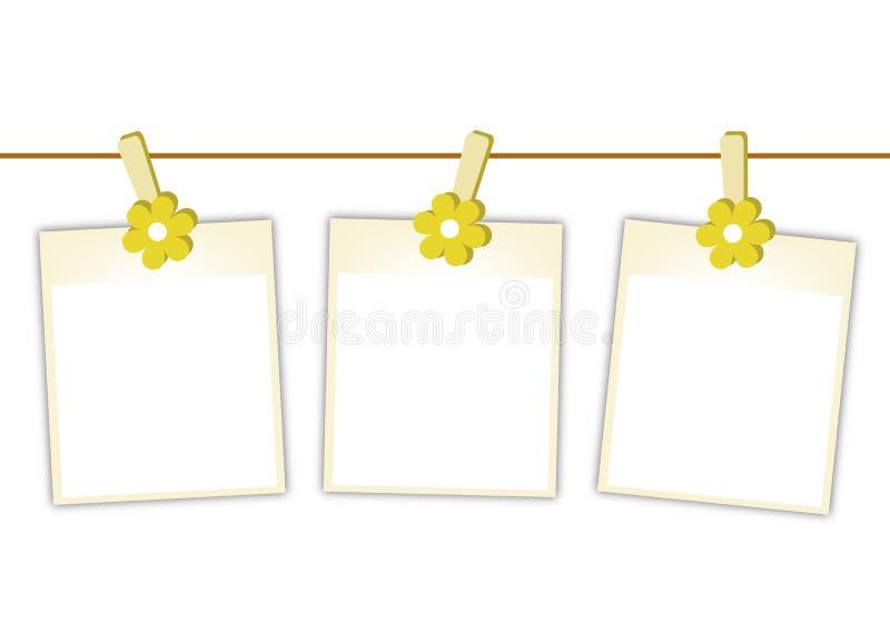 As fotos vazias com as flores amarelas que penduram sobre vestem-se ilustração stock