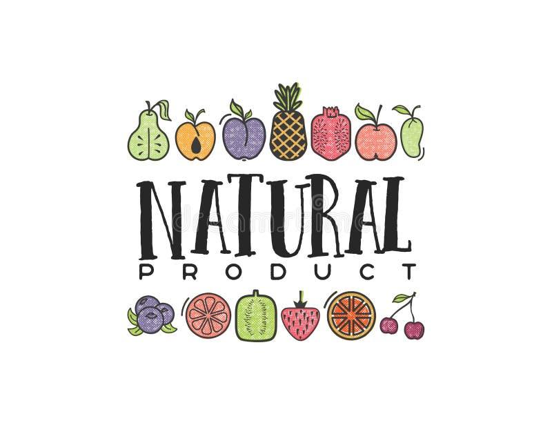 As frutas e legumes, produto natural da bandeira do vegetariano, isolaram ícones do vetor da cor ilustração royalty free