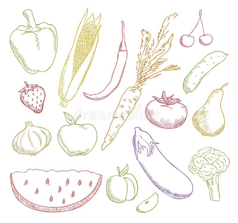 As frutas e verdura coloridos ajustaram-se ilustração royalty free