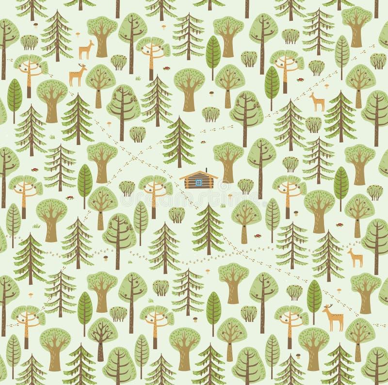 As fugas, traços de animais, arbustos, bagas, cogumelos compõem um teste padrão bonito da floresta do verão ilustração do vetor