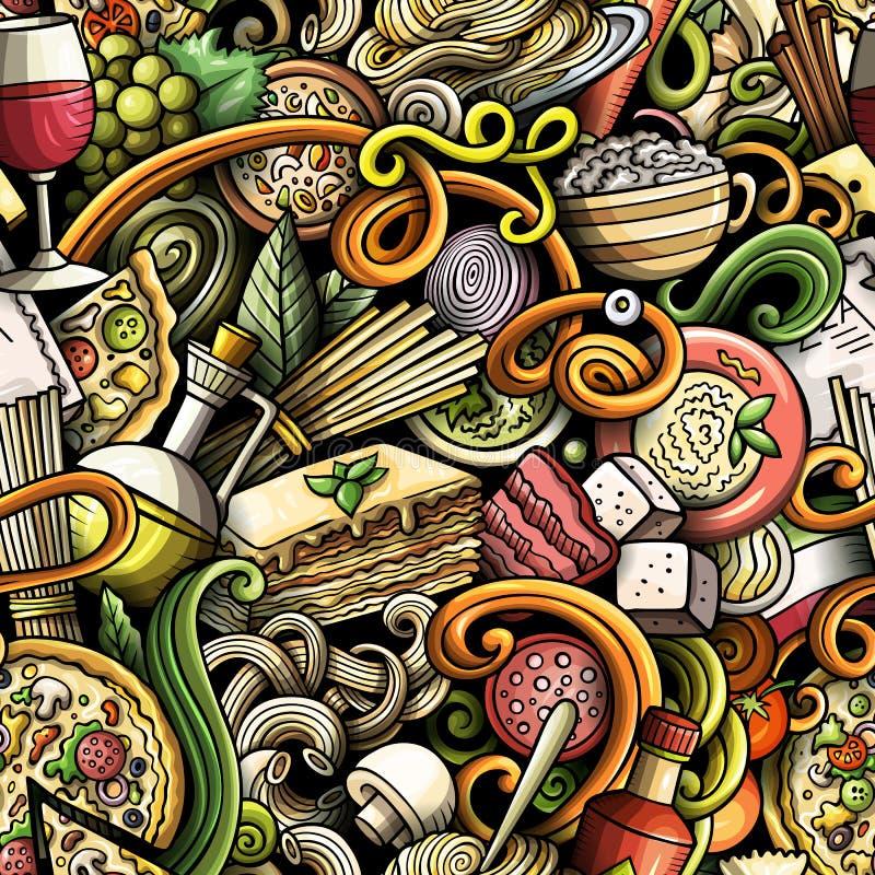 As garatujas bonitos dos desenhos animados entregam a alimento italiano tirado o teste padrão sem emenda ilustração stock