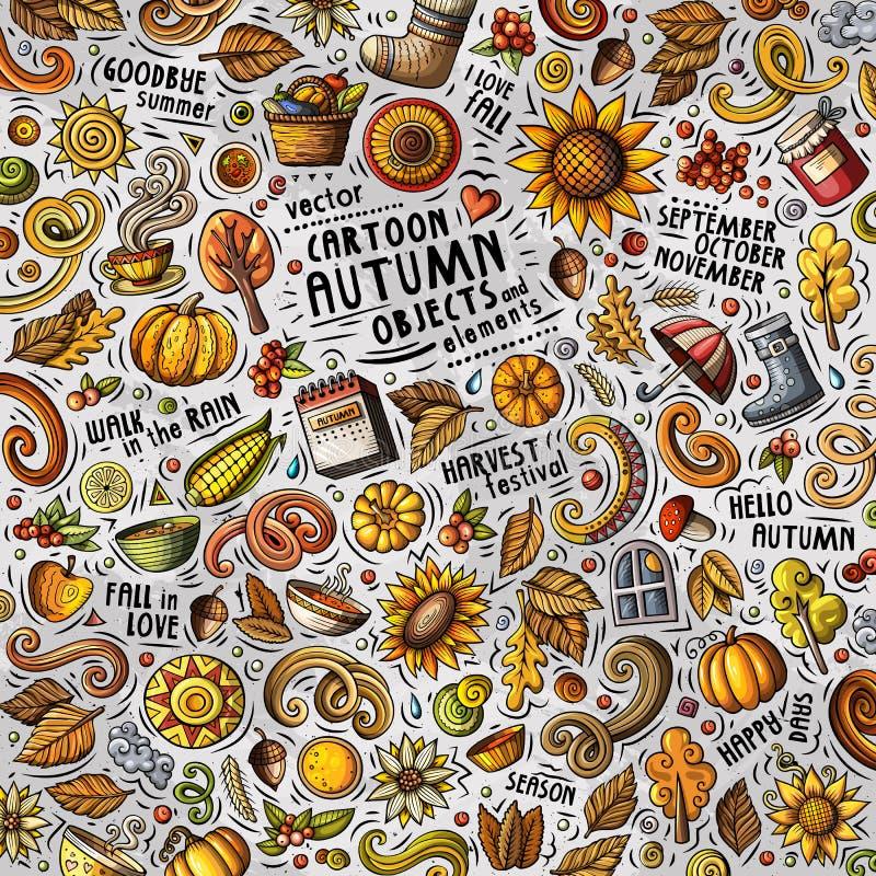 As garatujas bonitos dos desenhos animados entregam a ilustração tirada do outono com lotes dos objetos ilustração royalty free