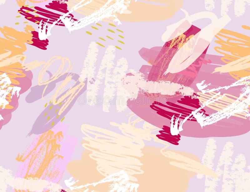 As garatujas com pastel e grunge texture áspero tirado ilustração royalty free