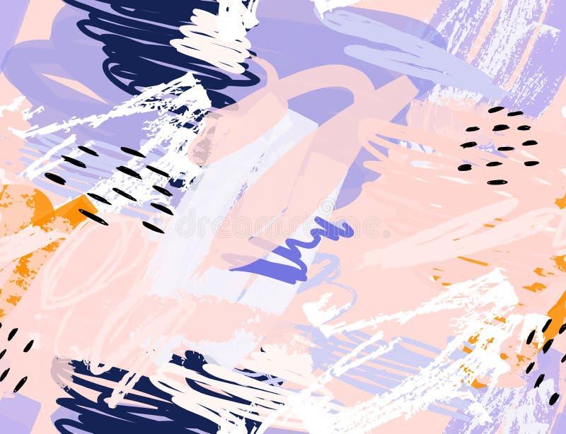 As garatujas com pastel e grunge texture áspero tirado ilustração do vetor