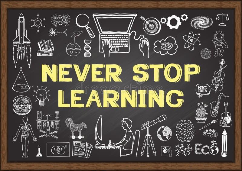 As garatujas do negócio e da educação com o conceito de NUNCA PARAM DE APRENDER no quadro ilustração do vetor