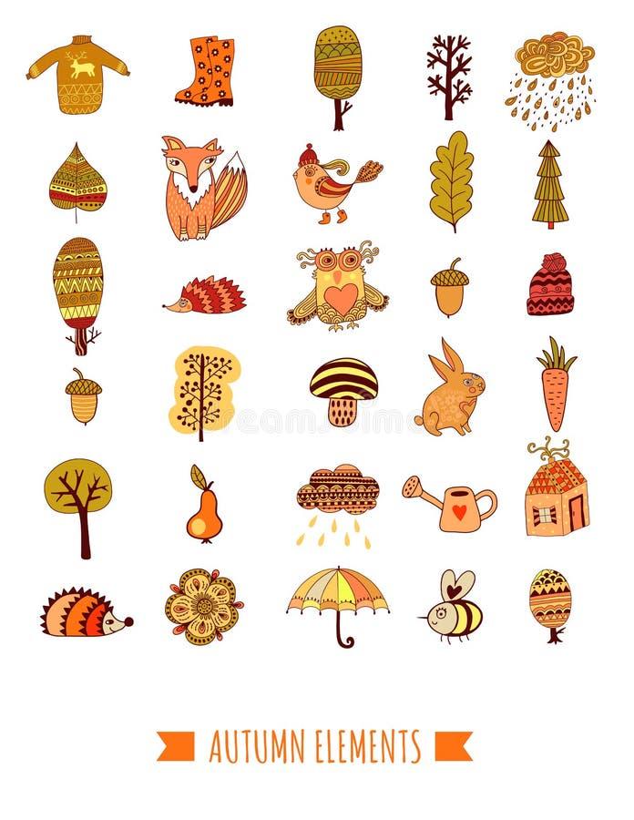 As garatujas do outono ajustaram-se, árvores do vetor, folha, guarda-chuva e animais ilustração stock