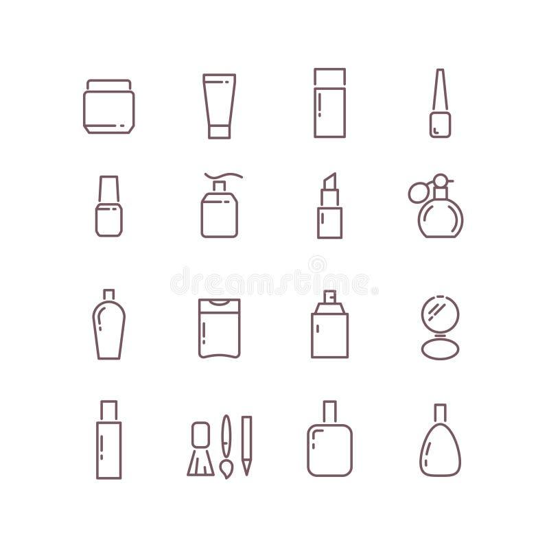 As garrafas cosméticas do pacote diluem os ícones do vetor do esboço ajustados ilustração stock
