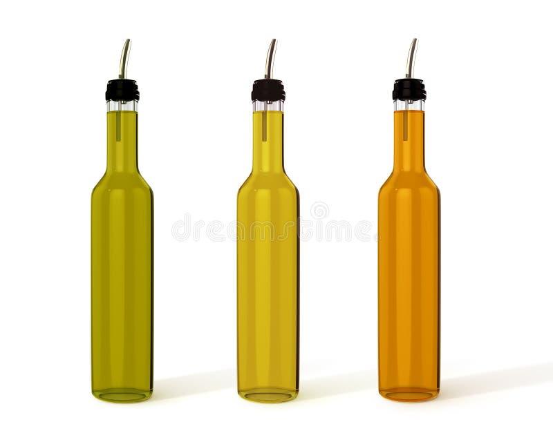 As garrafas da azeitona, do girassol e da abóbora lubrificam a ilustração 3D ilustração stock