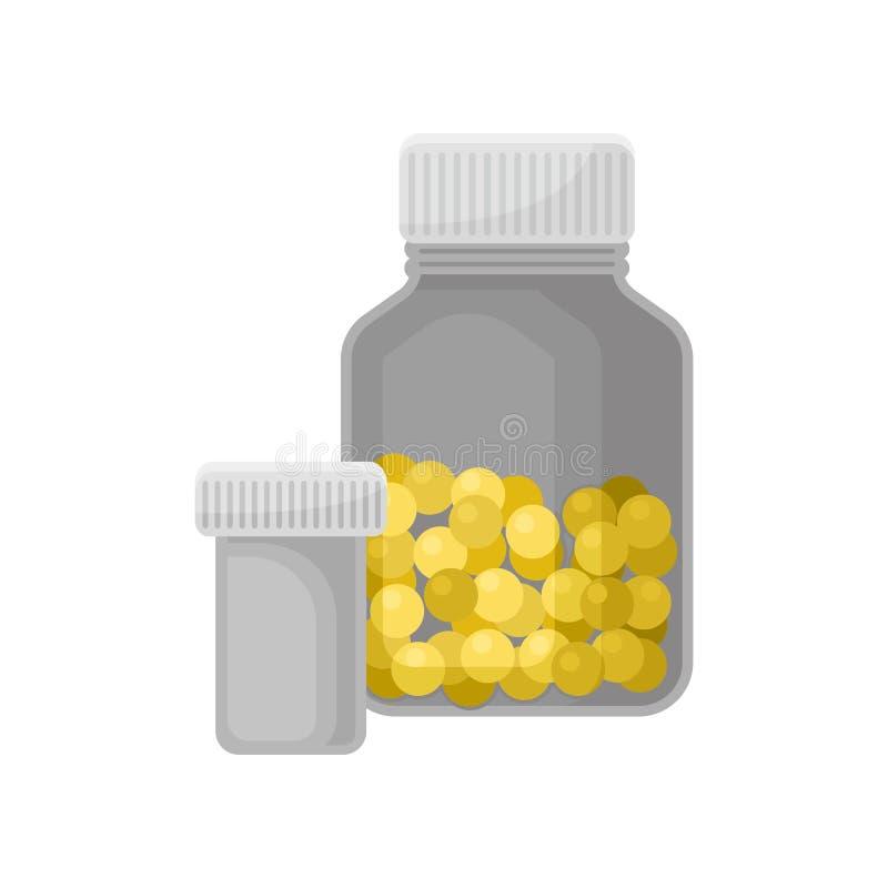 As garrafas da medicina, recipientes farmacêuticos para vitaminas, drogas, tabuletas, cápsulas, prescrições vector a ilustração n ilustração do vetor