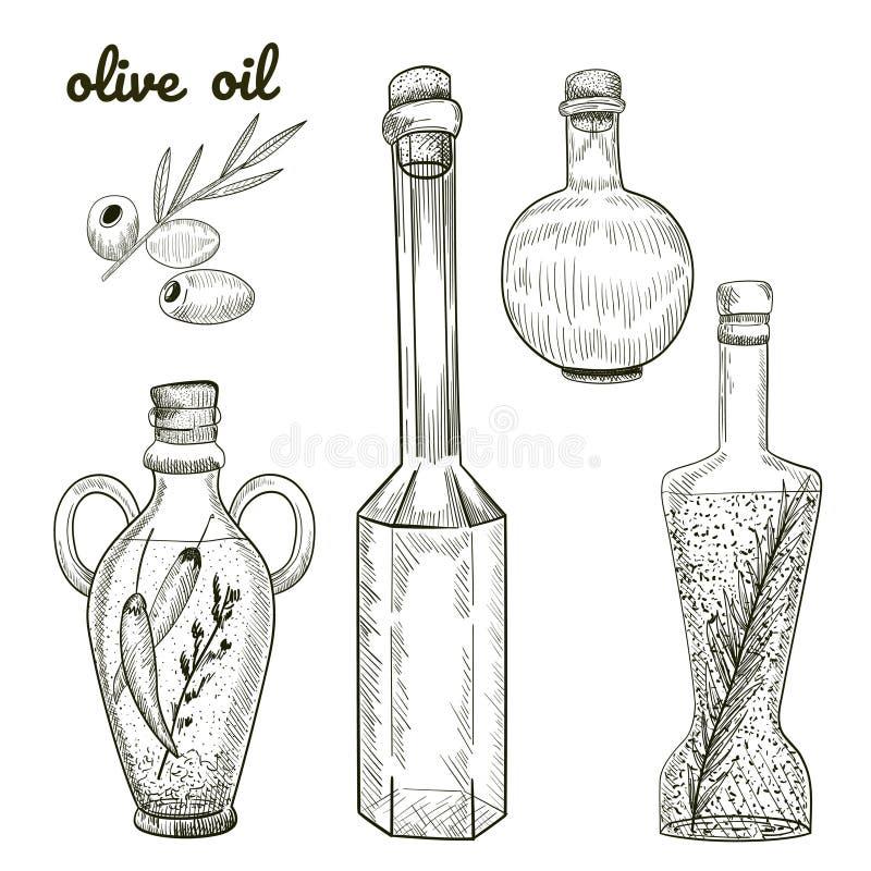 As garrafas de óleo entregam o esboço tirado isoladas no fundo branco ilustração do vetor