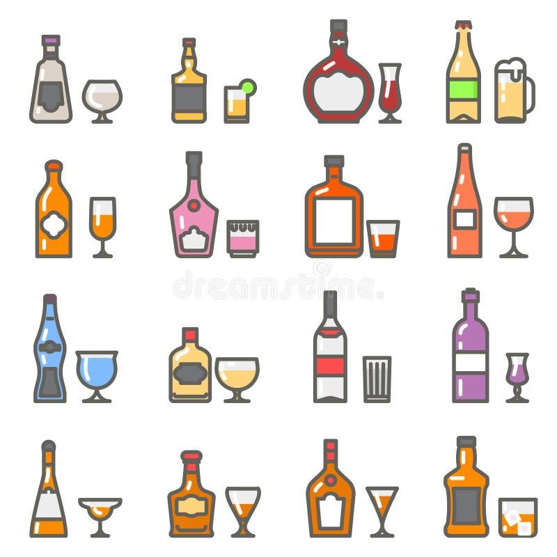 As garrafas do álcool com vidros e o stemware alinham ícones lisos ilustração do vetor