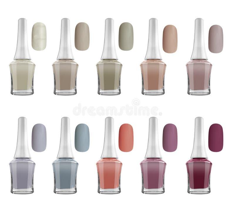 As garrafas matt do verniz para as unhas das cores naturais e os pregos da amostra, isolados no fundo branco, trajetos de grampea imagem de stock