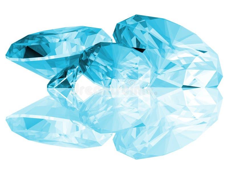 as gemas de Aquamarine 3d isolaram-se ilustração royalty free
