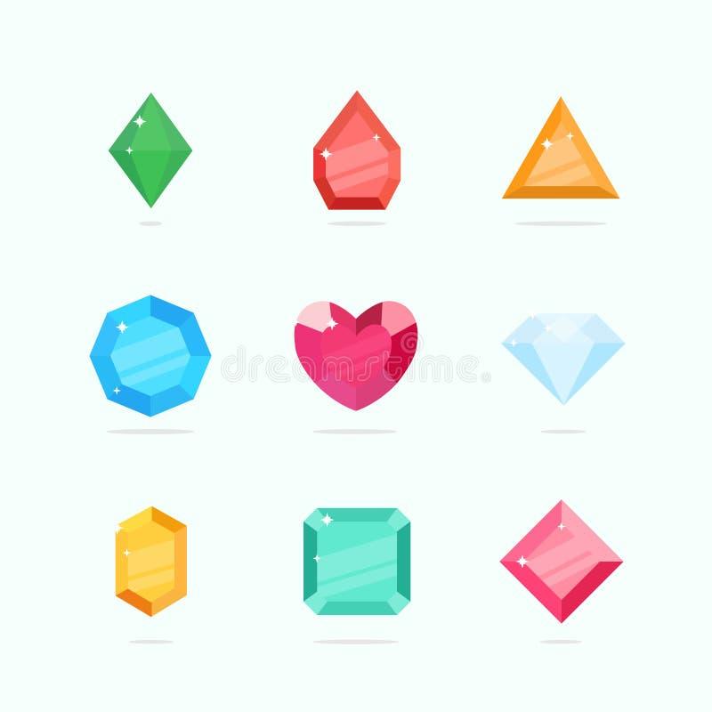 As gemas e os diamantes do vetor dos desenhos animados ajustaram-se em um estilo liso ilustração do vetor